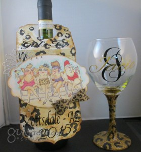 Girlfriends wine tag and matching wine glass